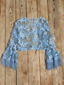 Fringed Flare Sleeve Sheer Lace Top - Light Blue S
