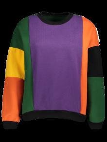 Paño Grueso Y Suave Del Bloque Del Color Sudadera - Púrpura