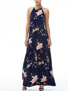 Maxi Floral Beach Dress - Navy Blue S