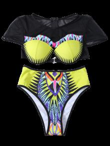 Printed See-Through Underwire Bikini FLUORESCENT YELLOW ...