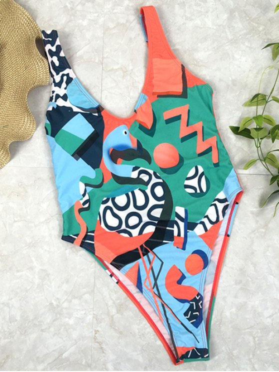 hot Low Back Abstract Print Swimsuit - GREEN S