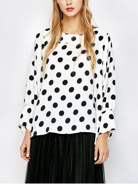 unique Boatneck Polka Dot Blouse - WHITE AND BLACK L