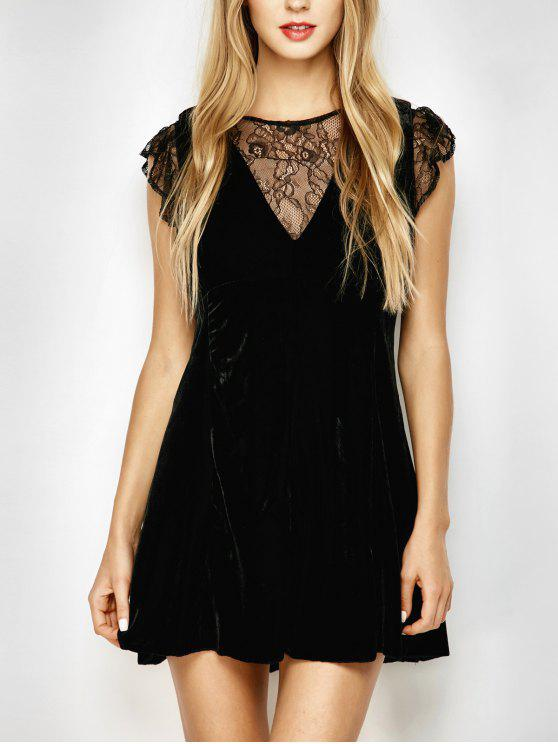 latest Velvet Lace Panel Mini Dress - BLACK S
