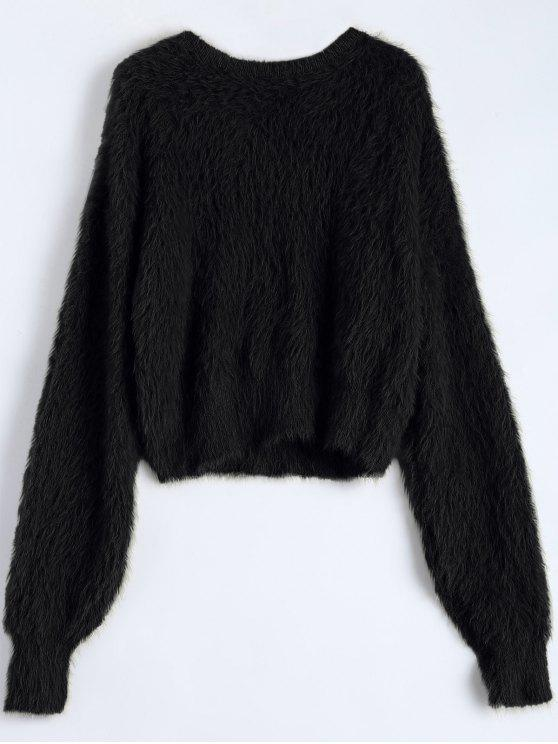 Fuzzy Cropped Sweater BLACK: Sweaters ONE SIZE | ZAFUL
