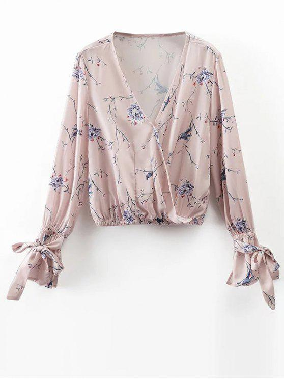 unique Floral Wrap Top - LIGHT PINK M