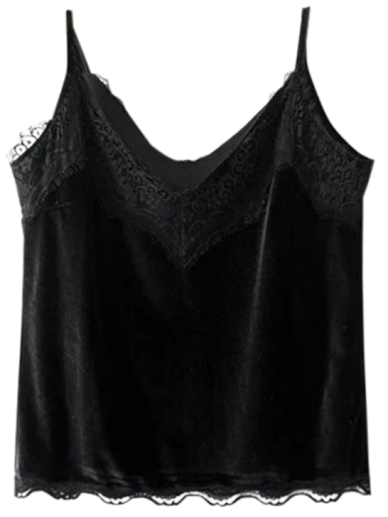 lady Velvet Lace Trim Cami Top - BLACK L