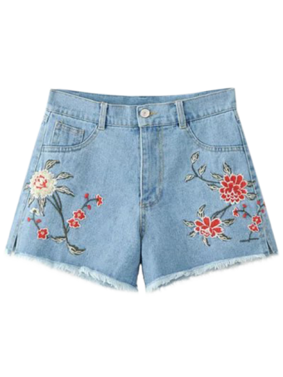High Waisted Embroidered Denim Shorts LIGHT BLUE: Shorts M | ZAFUL