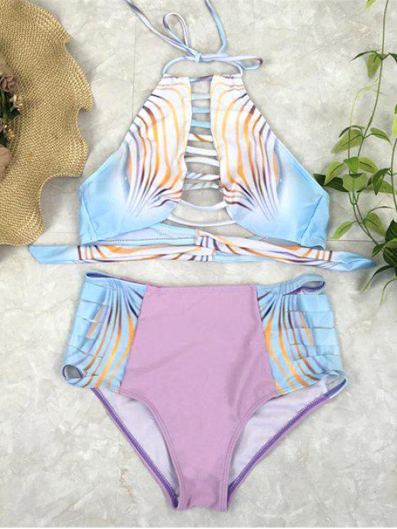unique Bandage Halter High Waisted Bikini Set - PINK L