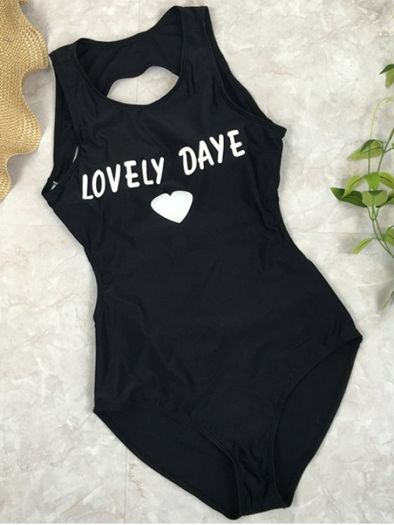 ladies Open Back Lovely Daye Heart Swimsuit - BLACK M