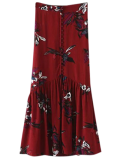 Boho Floral Single-Breasted Maxi Skirt - Burgundy M