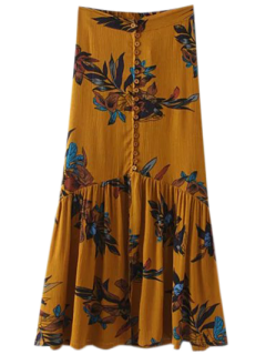 Boho Floral Single-Breasted Maxi Skirt - Ginger S
