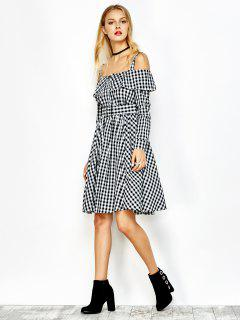 Cold Shoulder Slip Ruffle Plaid Dress - Checked S