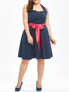 Plus Size Halter Polka Dot Pin Up Dress - Purplish Blue 6xl