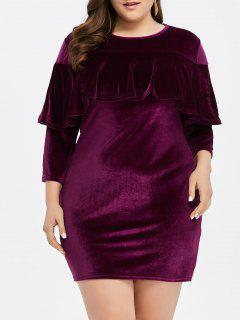 Plus Size Velvet Mini Sheath Tight Dress - Purplish Red 2xl