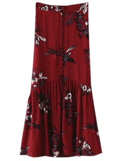 Boho Floral Single-Breasted Maxi Skirt - Burgundy S