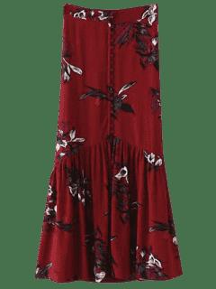 Boho Floral Single-Breasted Maxi Skirt - Burgundy L