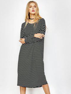 Long Sleeve Striped Midi Tee Dress - White And Black L