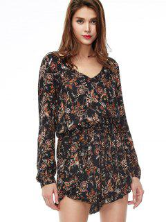 V Neck Printed Playsuit - Black S