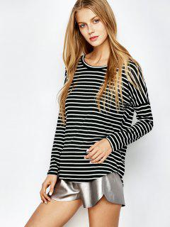 Long Sleeves Stripe Tee - White And Black L
