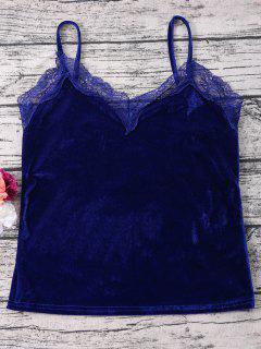 Lace Velvet Camisole Top - Sapphire Blue S