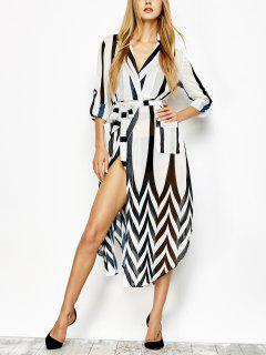 Belted Striped Shirt Dress - White And Black M