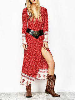 Printed Wrap Maxi Dress - Red M