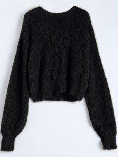 Fuzzy Cropped Sweater - Black