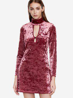 Cut Out High Neck Velvet Dress - Red S