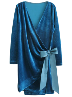 Bowknot Tie Velvet Robe Dress - Peacock Blue L