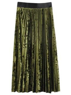 Winter Crushed Velvet Skirt - Olive Green M