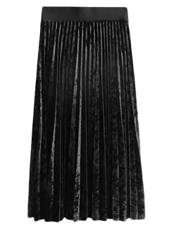 Winter Crushed Velvet Skirt - Black M
