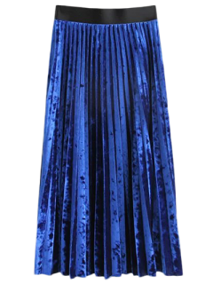 Winter Crushed Velvet Skirt - Blue M