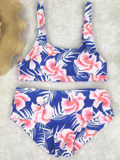Floral High Waist Swimwear Set - Blue M