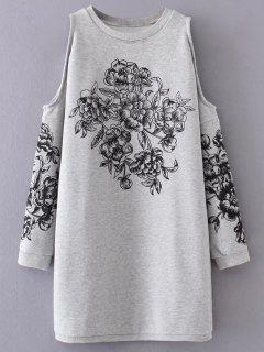 Floral Cold Shoulder Sweatshirt Dress - Gray S
