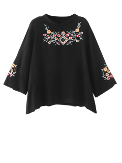 Embroidered Crew Neck Top - Black M