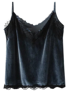 Velvet Lace Trim Cami Top - Purplish Blue S