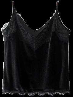 Velvet Lace Trim Cami Top - Black M