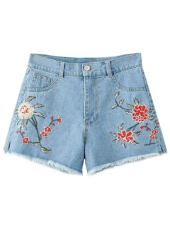High Waisted Embroidered Denim Shorts - Light Blue Xl