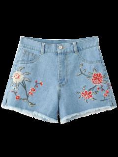 Shorts Florale Taille Haute En Denim  - Bleu Clair Xl