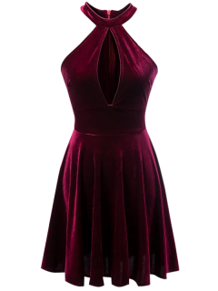 Velvet Keyhole Skater Dress - Burgundy S