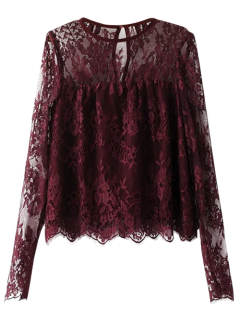 Sheer Floral Lace Smock Top - Bourgogne S