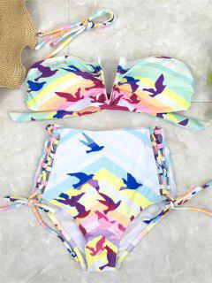 Lace Up High Waist Birds Bikini Set - Multicolor S