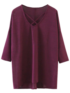 Drop Shoulder Front Strap Tee - Burgundy L