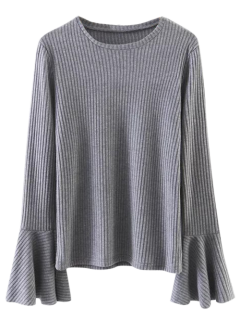 Ribbed Bell Sleeve Jumper - Gray S
