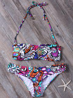 Strappy Printed Bandeau Bikini - Multicolor S