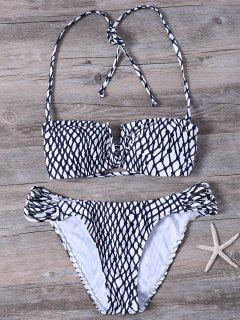 Strappy Fishnet Print Bandeau Bikini - White And Black S