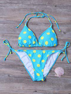 Chaîne Tie Polka Dot Bikini Thong - Turquoise S
