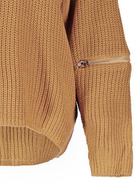 Pullover à col ras du cou et zippé aux manches - Terreux TAILLE MOYENNE Mobile