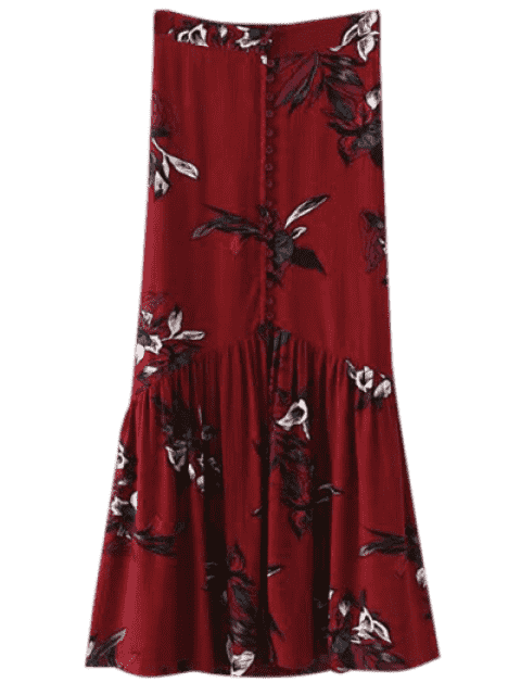 best Boho Floral Single-Breasted Maxi Skirt - BURGUNDY L Mobile