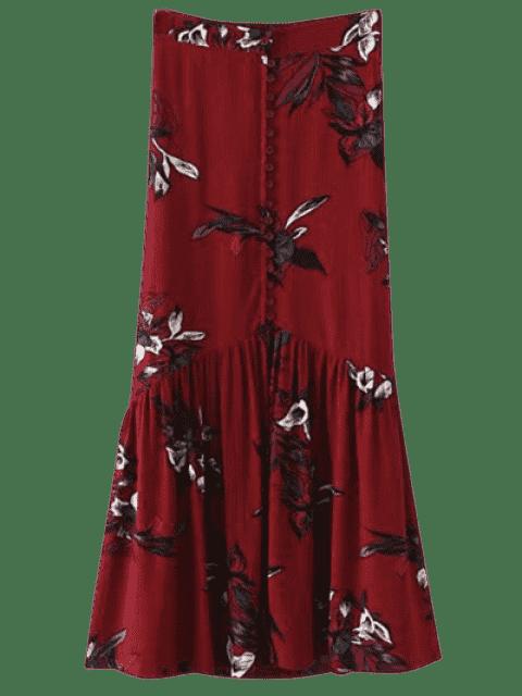 Jupe maxi florale à simple boutonnage - Bourgogne M Mobile